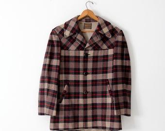1960s Pendleton wool coat, men's plaid jacket