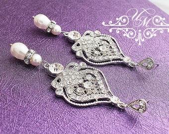 Wedding Jewelry Wedding Earrings Bridal Earrings Bridesmaids earrings Rhinestone earrings Dangle Earrings Pearl Earrings Vintage - RAISA