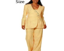 Womens Suit Pattern See & Sew 6511 Loose Fit Button Front Collarless Jacket, Camisole Top, Wide Leg Trouser Dress Pant Size 20-22-24 UNCUT