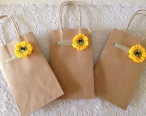 Sunflower Gift Bags, 3 Kraft Brown Paper Gift Bags Decorated with Tulle and Crocheted Sunflowers - Use with Gifts for Her