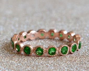 Rose Gold Emerald eternity ring