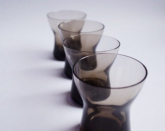 Grey Smokey Vintage Set of Four Shot Glasses