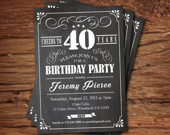 40th Birthday chalkboard invitation. Cheers to 40 year. Retro black and white chalkboard. Any age. Birthday drinks printable invite. AB135