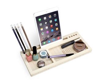 Madison Beauty Station | Daily Make-Up Organizer - Gift for Her - Bamboo Makeup Brush Eyeliner Pencil Blush Holder iPad Dock - Fast Shipping