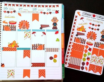 Thanksgiving, Fall, Fits Erin Condren® and others, Planner Stickers, Kiss Cut, Calendar Stickers, Life Planner™ Stickers, Journal, Scrapbook