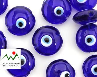 Eye Beads,Lucky Eye Beads,Evil Eye Beads,Glass Beads,Lampwork Beads,Hand Made Beads,Lampwork Glass,18MM Lentil,#EYE010231