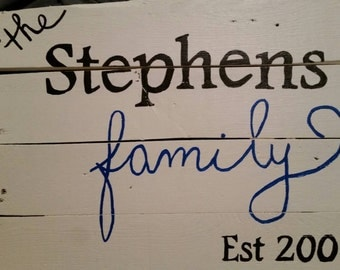 Family Established Wood Home Decor Sign