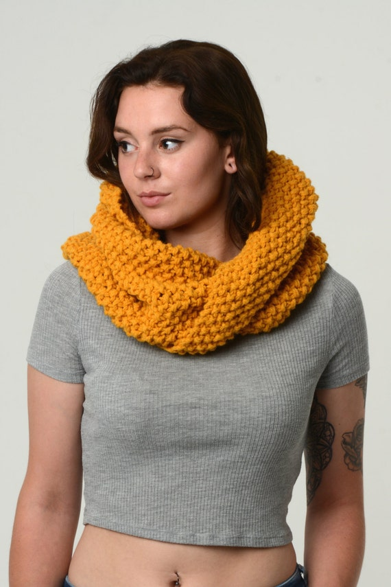 Mega chunky infinity scarf - hand knitted - mustard twist scarf - handmade with love - yellow loop scarf - moss stitch scarf