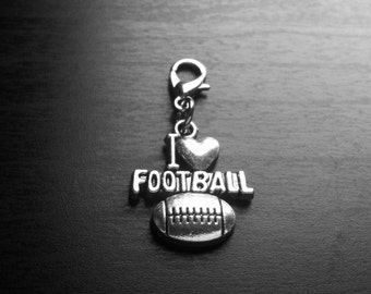 I Love Football Dangle Charm for Floating Lockets or Zipper Pull-Antique Silver-Gift Idea