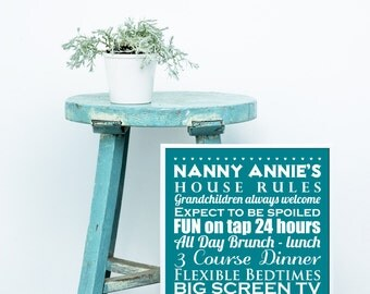 Personalised Nanny's Rules Print