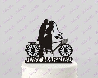 Bicycle for Two Wedding, Just Married, Bride and Groom Cake Topper - Acrylic Cake Topper [CTb42]