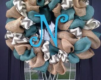 Triple Threat Burlap Monogram Wreath