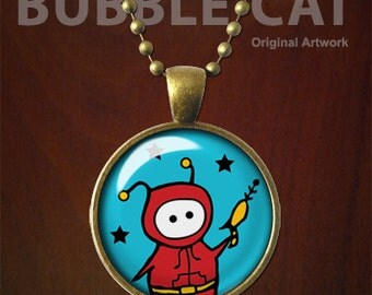 Cute Alien Necklace, Red Hoodie, Red Hoody, Blue stars, Raygun, Silver Finish, Brass, Alien Pendant with Raygun, Star Jewelry with Chain