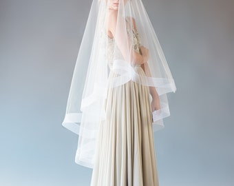 GRACE VEIL | waltz length veil with horsehair trim, veil with blusher, drop veil, circle veil, wedding veil, bridal veil