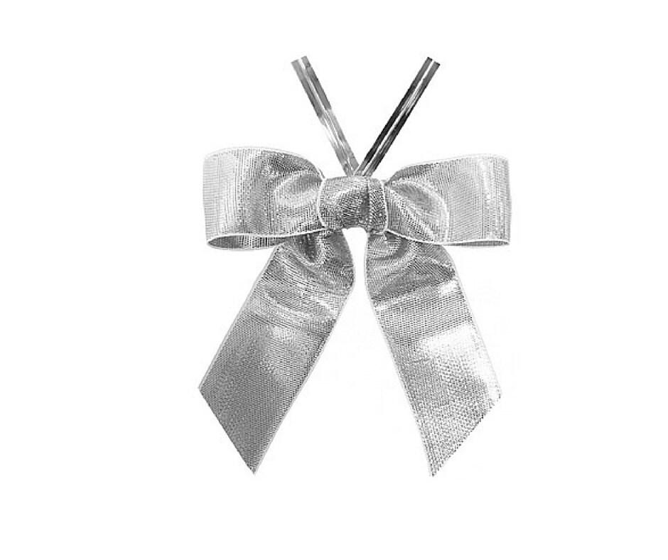 50 Metallic Silver Satin Ribbon Bows Ready to Use Silver  50 Metallic Sil...