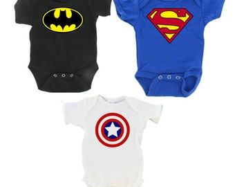 Infant Superhero Onesie Set Includes Batman, Captain America, Superman