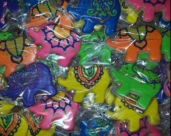 Colorful Elephants Custom Cookies