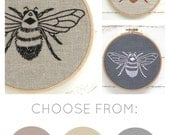Embroidery kit, DIY hoop art, bumblebee embroidery, hand embroidery pattern, beginner needlecraft, bee pattern, modern embroidery