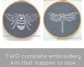 Embroidery Kit PAIR, bee embroidery, dragonfly embroidery, DIY embroidery hoop art, insect embroidery patterns, beginner embroidery kit