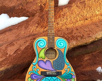 Heart Strings ~ Hand Painted Acoustic Guitar
