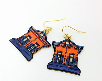 New Orleans Shotgun House in Blue and Orange – Mazant St. Earrings