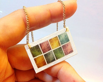 Stained Glass Transom Window Necklace in Mardi Gras Colors – New Orleans Architectural Detail Jewelry