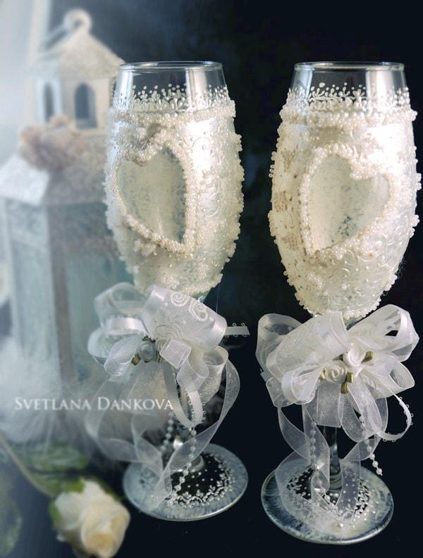 Wedding Wine Glass Set Bridal Shower Gift Wedding Glass