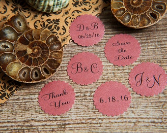 25 Raspberry Purple Save the Date Envelope seals, wedding stickers invitations. Printed Scalloped Round Favour stickers. Matt Pearlised