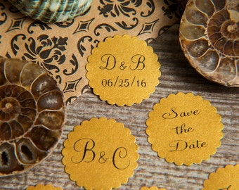 100+ Old Gold Save the Date, Printed Envelope seals, wedding stickers invitations. Scalloped Round Favour stickers. Matt Pearlised shimmer