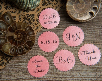 25 Blush Pink Save the Date, Printed Envelope seals, wedding stickers invitations. Scalloped Round Favour stickers. Matt Pearlised shimmer