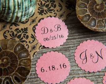 100+ Blush Pink Save the Date Envelope seals, wedding stickers invitations. Printed Scalloped Round wedding Favour stickers. Matt