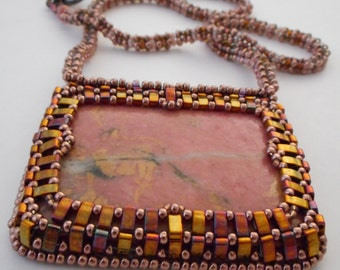 Bead Embroidered necklace with Rhodonite cab by Cathy Helmers