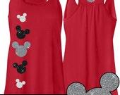 GLITTER Mickey Red Flowy Tank -- Disneyland Shirt // Disney Cinderella Castle Disney Clothing // Mickey // Disney World // Womens Clothing