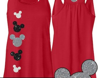 GLITTER Mickey Flowy Tank -- Disneyland Shirt // Disney Cinderella Castle Disney // Mickey // Disney World (silver, white and black glitter)