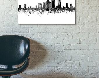New York City Skyline, Black and White,Digital Watercolor Art Print, Modern Home Decor No,528
