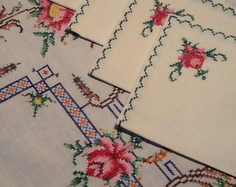 Cotton tablecloth with hand embroidery