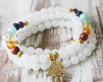 108 Chakra Mala Necklace Beads Snow Quartz Healing Necklace Hamsa Necklace Yoga Necklace - purify, cleansing