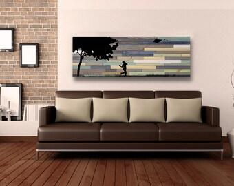 Reclaimed Barnwood Wall Art - Flying a Kite