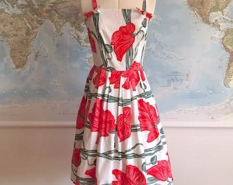 1950s Red Cotton Poppy Print Dress
