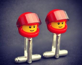 LEGO ® Helmet Biker Minifigure Cufflinks - RED