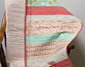 Coral mint gold crib quilt and matching pillow. Coral mint gold nursery bedding. Pink tummy time blankie. Coral pink quatrefoil. Girl baby
