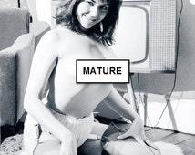 Vintage Mature 18+ Risque Nude Pinup Model Actress Arlene Ablette B&W Topless Naked Woman 1960s Original Lab Photograph ConciergePhoto.com