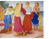 Kuzma Petrov-Vodkin (1878-1939) Vintage Postcard «Girls on the Volga. 1915» - Printed in the USSR, «The Fine Arts», Moscow, 1974