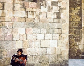 Acoustics - Original Fine Art Photograph - Guitarist - Barcelona Spain