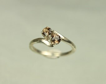 Handmade Champagne Zircon and Sterling Silver Ring