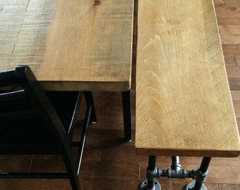 Industrial Wooden Bench | Reclaimed wood bench, Pipe bench |  Table bench, Dining Bench, Entry Bench | Free shipping