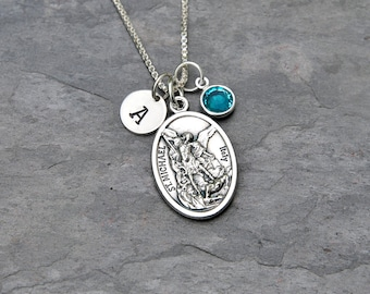 Saint St Michael Necklace - Personalized Initial Charm, Swarovski Crystal Birthstone or Pearl - Protector, Police, Military