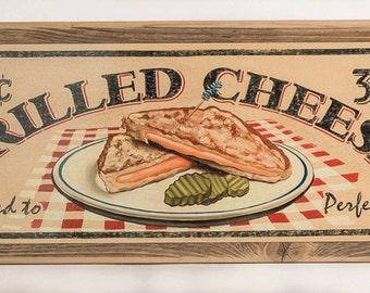 Framed Grilled Cheese Sandwich Metal Sign, Classic Diner, Comfort Food 5811F