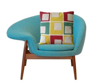 Rétro Moderne Couvre Coussin Canevas et Cuir Rouge Jaune Vert Blanc Motif Grands Carreaux pour Sofa - Fait Main par Renaissance Cushions