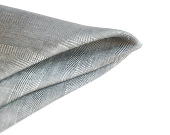 Herringbone Pocket Square. Linen Pocket Square. Gray Handkerchief. Herringbone Handkerchief
